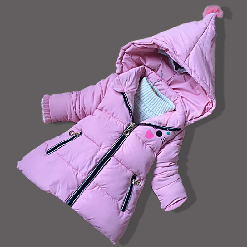 Children Girl Winter Jacket Fashion Cartoon Girls Zipper Hoodies Kids Overcoat Cotton Warm Hooded Fur Princess Snow Jackets