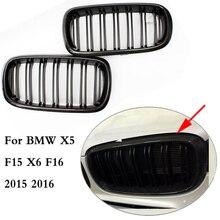 Для X5 X6 углеродного волокна ABS двойной Планка спереди почек решетка решетки сетки для BMW X5 F15 X6 F16 2015 2016 внедорожник полный привод 50i x30d