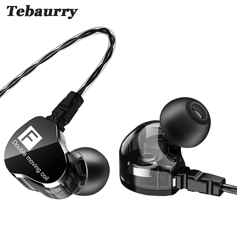 Tebaurry Earphones Dual Unit Driver Sport In-ear Earphone 3.5mm HiFi Bass Headset with Mic DJ Music Earphone for Phone MP3