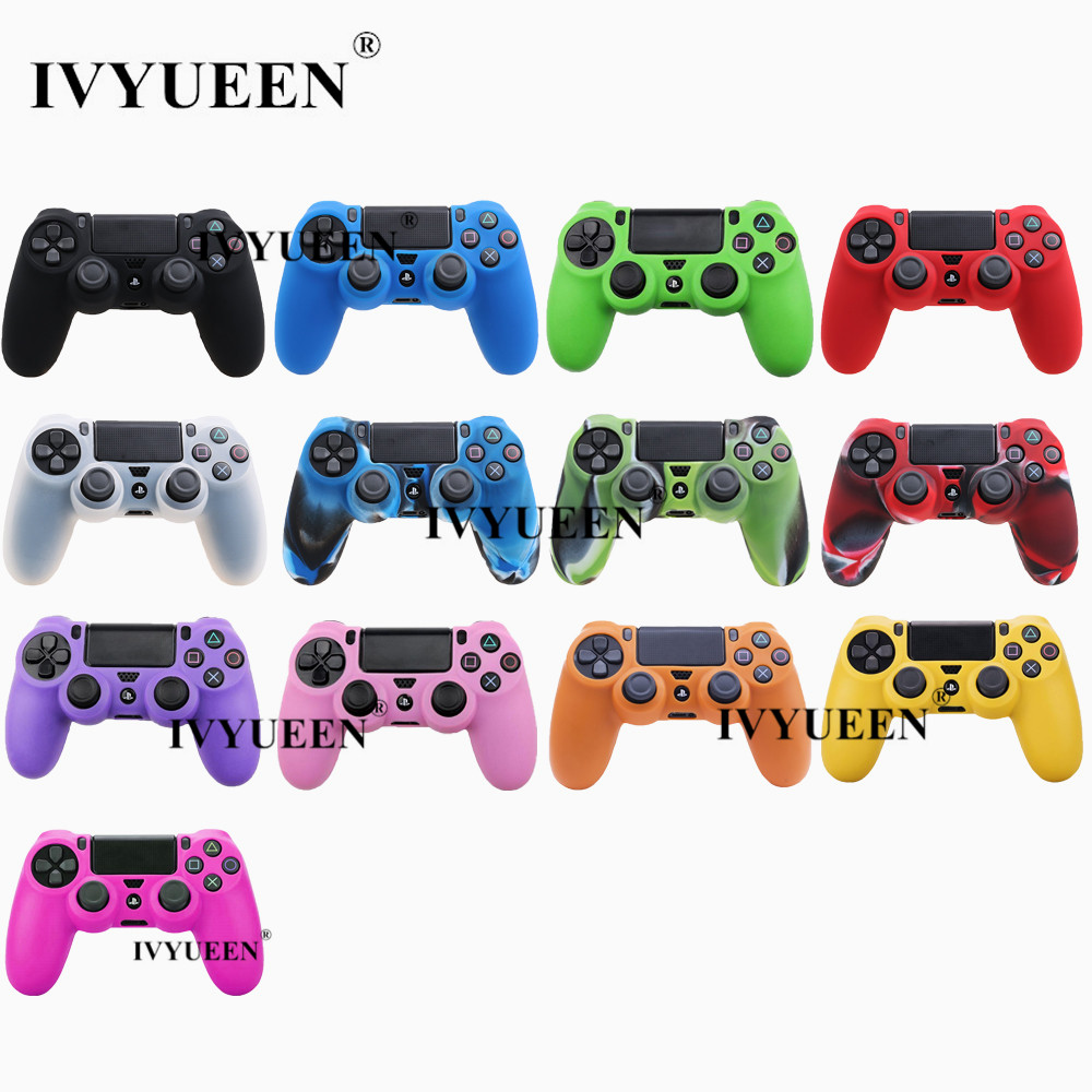 IVYUEEN for Sony PlayStation 4 <font><b>PS4</b></font> Pro Slim Controller Silicone Protection <font><b>Case</b></font> Skin + 2 Thumb Sticks Grips Caps for Dualshock 4 image