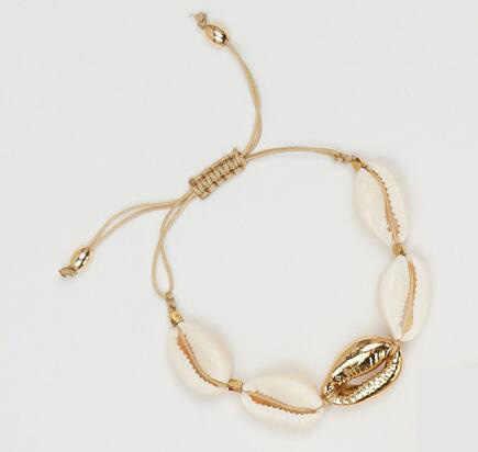 1 Pza pulsera de concha de vaca de mujer ajustable boho macramé amistad Real Seashell pulsera de joyería del Día de las madres regalo