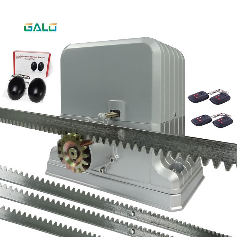 GALO 1800 kg électrique portail coulissant moteurs/automatique ouvreur de porte moteur avec supports en acier 1 porte cellule photoélectrique 4 à distance contrôle