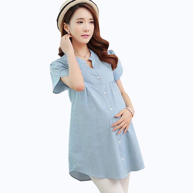 af92c78e0 Verano de puro algodón camisas blusas de maternidad camisa vaquera de manga corta  ropa de maternidad