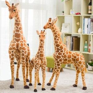 Image 3 - Jirafa de peluche con forma de animales para niños, muñeco de felpa con forma de jirafa, realista, simulación de ciervo, regalo de Navidad