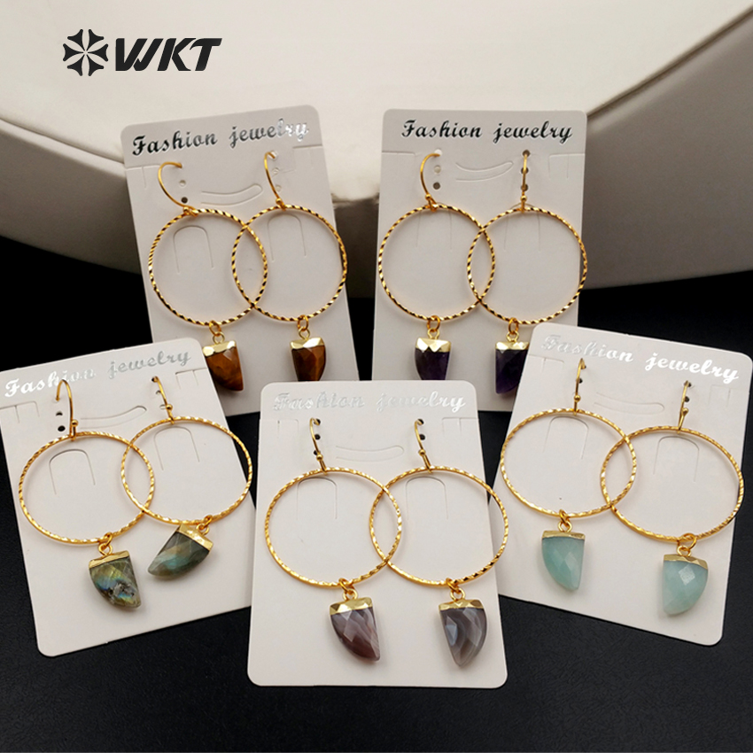 WT E390 Wholesale Natural Stone Earrings Plating 24K Gold Fashion Round Ring Geometry Shape Earrings Jewelry