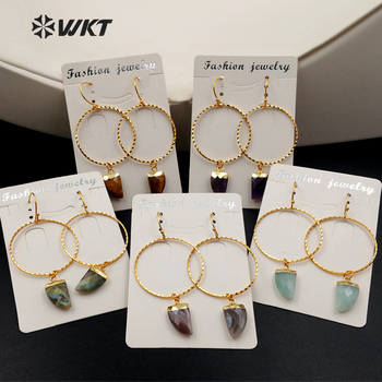 WT-E390 Wholesale Natural Stone Earrings Plating 24K Gold Fashion Round Ring Geometry Shape Earrings Jewelry For Women Gift