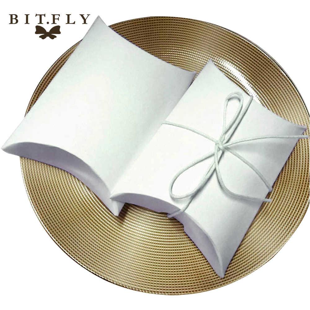100pcs Caixa de Doces de Casamento Caixa de Presente de papel Kraft com Serapilheira Fio Saco de Favores e Presentes de Casamento Fontes Do Partido do vintage branco
