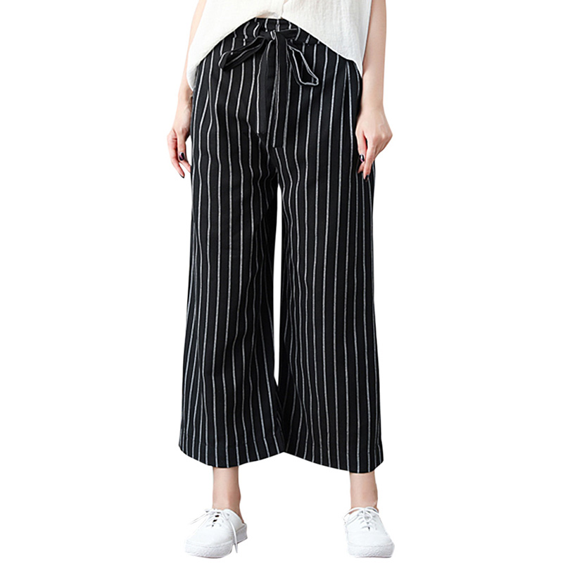 Summer Women Cotton Linen   Wide     Legs     Pants   Ladies Striped Cropped   Pants   Elastic Waist Strap Pockets Casual Female Loose Trousers