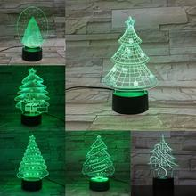 Christmas Tree 3D Lamp 7 Colors Changing Night Light Holiday Atmosphere Lighting Party Home Table Decor