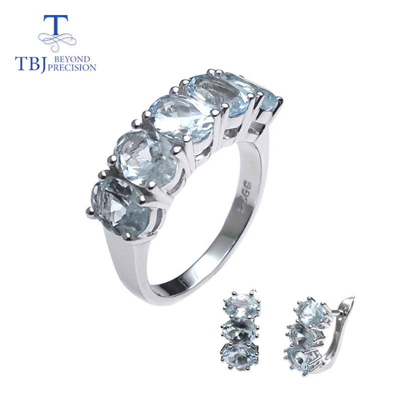 TBJNatural Aquamarine gemstone simple classic rings and earrings set in 925 sterling sliver for girls women as engagement gift