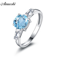 AINUOSHI 3 Stone Ring Natural Blue Topaz Ring Engagement Wedding Ring 1.25ct Round Cut Gemstone Genuine 925 Silver Women Jewelry