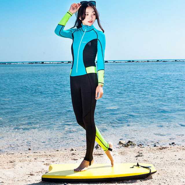 UPF50+ Womens Lycra Scuba Wetsuit Full Body Hooded Diving Snorkeling Surfing Suit One-Piece Swimwear Rash Guards UV Protection