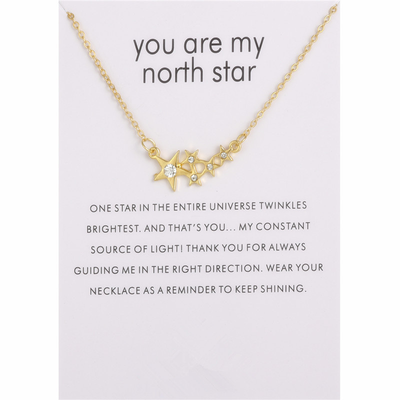 Women New Jewelry Five Star Crystal Message Pendant Necklace For Women Gifts