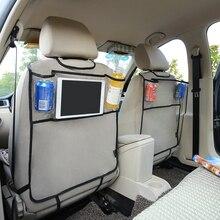 Update Design! Environmental Thicken PVC Car Back Seat Protector Kick Mat With Organizer For iPAD 2/3/4/Air/Mini
