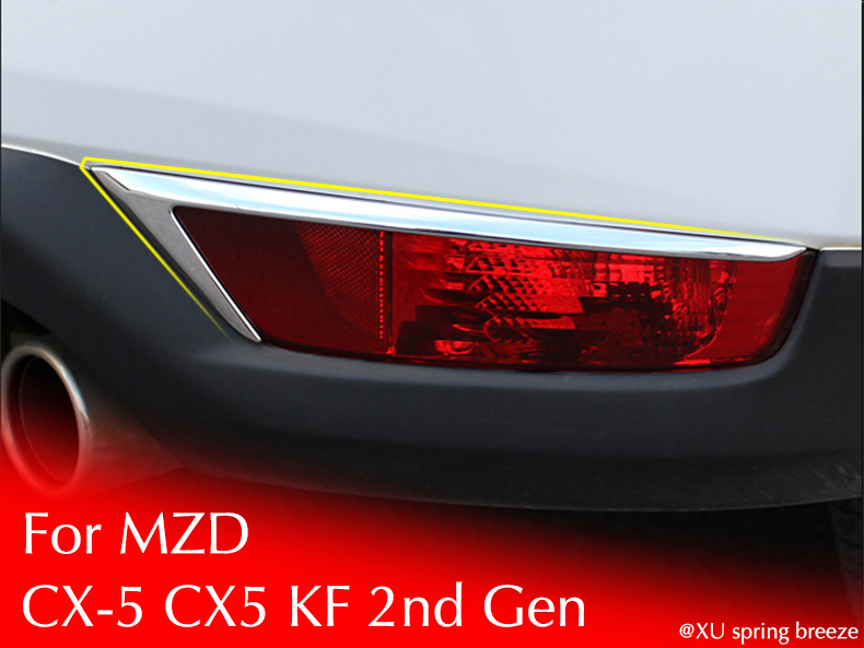 For Mazda CX-5 CX5 2017 2018 KF 2nd Gen Car Rear Fog Light Lamp Eyebrow Trim Sticker Cover Car Styling Car Styling rear bumper light fog lamp for mazda cx 5 left and right top quality