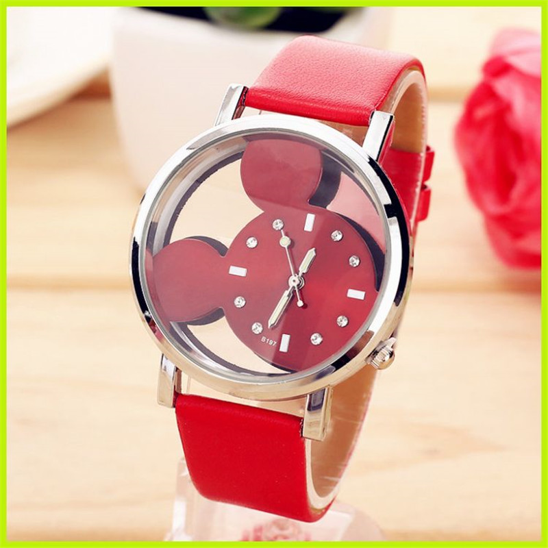 MEIBO Fashion Mouse Pattern Crystal Women Watch Casual Leather Strap Hot Clock Girls Kids Quartz Wristwatch Relogio Feminino joyrox minions pattern children watch 2017 hot despicable me cartoon leather strap quartz wristwatch boys girls kids clock