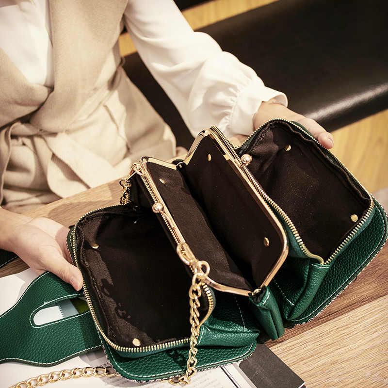 Ankareeda новые модные женские туфли сумка на плечо с цепью ремень лоскут Дизайнер Сумка-клатч дамы Курьерские сумки с металлической пряжкой
