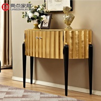 120cm Gilded Console Table / Side Cabinet with Gold Foil Doors and Top / Solid Wood Legs