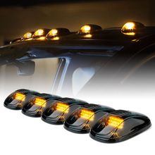 Smoked 5Pcs 12 LED Cab Roof Running Marker Lights Truck SUV Off Road Set
