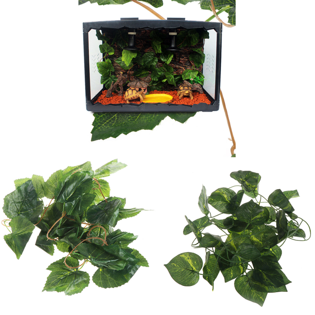 artificial vine reptile box case decoration lizard green grape