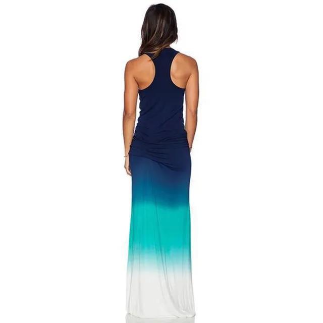 plus size 3XL 4XL 5XL women beach long maxi dress 2019 sleeveless colorful print tank robe summer sundress loose sexy boho dress