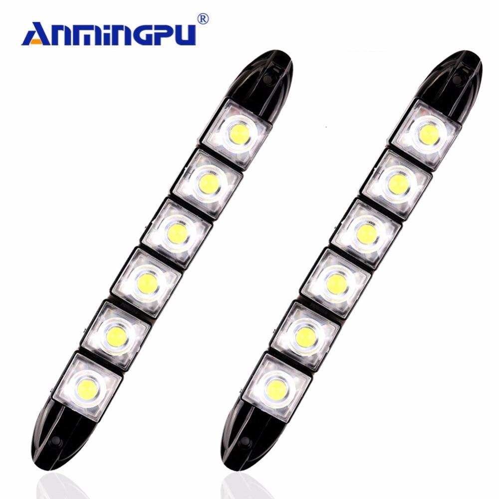 Anmingpu 2 unids Accesorios de luces del coche 6000 K 12 V flexible Led Drl LED daytime Correr luz del día luz de la lámpara COB para Ford Kuga