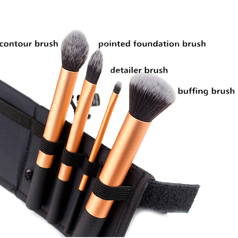 4 Pcs Professional Golden Makeup Brushes Waistline Sculpting Brush Set Cosmetic Tool Maquiagem Accessories with original box 4 pcs golden professional makeup brushes waistline sculpting brush set cosmetic tool maquiagem accessories with original box