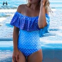 PLAVKY Sexy Blue Scale Mermaid Off Shoulder Ruffled Trikini Swim Wear Bathing Suit Monokini Swimwear Women