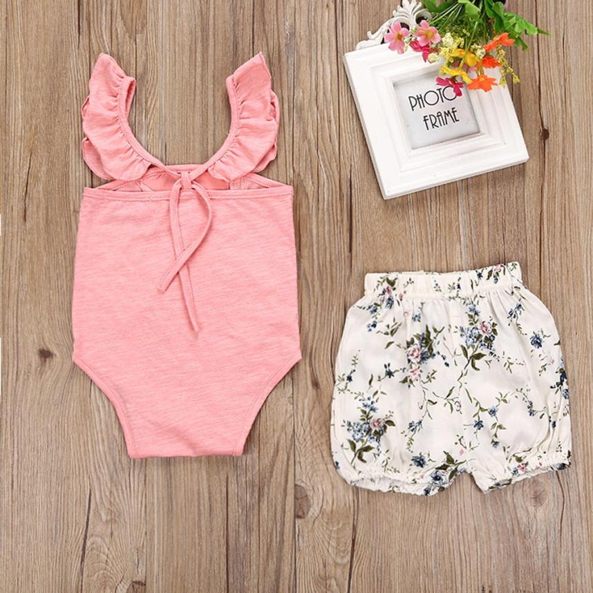 Newborn Girl Boys Clothes Sets Toddler Baby Girls Outfit Clothes Lace Romper Jumpsuit+Floral Short Pants Toddler Girls Clothing fashion 2pcs set newborn baby girls jumpsuit toddler girls flower pattern outfit clothes romper bodysuit pants