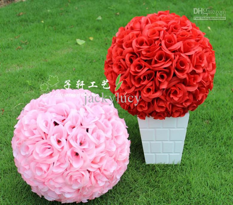 New 30cm12 artificial fuchsia rose silk flower kissing balls new 30cm12 artificial fuchsia rose silk flower kissing balls hanging ball for christmas ornaments wedding party decorations in artificial dried flowers mightylinksfo Choice Image