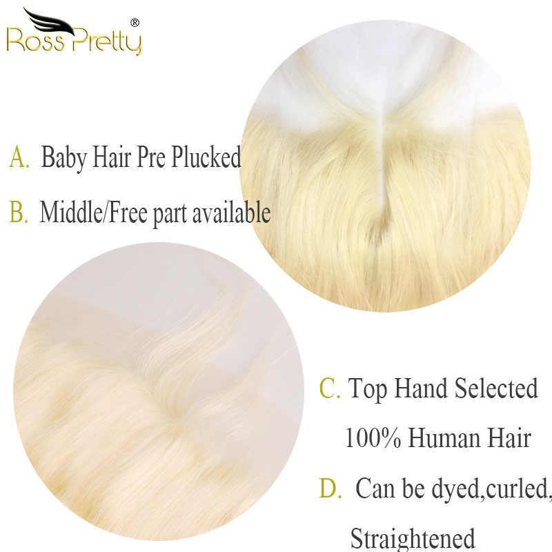 Кружевные фронтальные светлые прямые волосы предварительно сорванные 13x4 спереди 613 цвет средняя и свободная часть бразильские Remy человеческие волосы Ross Pretty