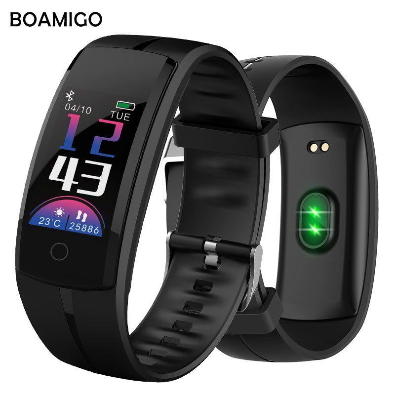 все цены на Smart Watches BOAMIGO Unisex Smart Bracelet Wristband Pedometer Heart Rate Message Reminder For IOS Android Phone Bluetooth 4.0