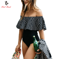 Ariel Sarah Brand Striped One Piece Swimsuit 2017 Floral Off Shoulder Women Swimwear Halter Swimsuit Bathing