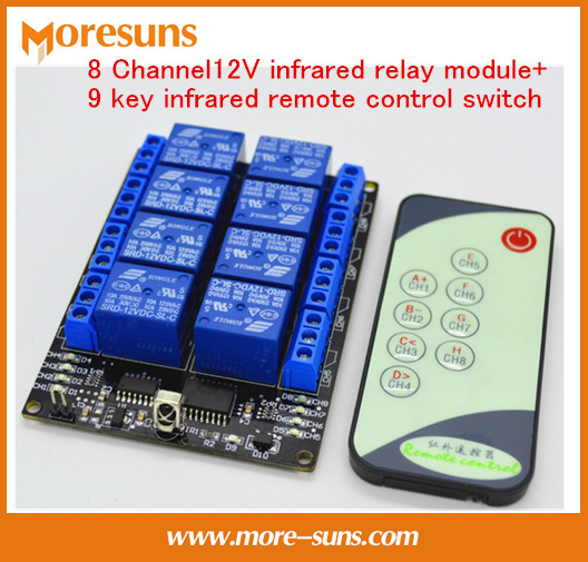 Free Ship 5PCS 8 Channel12V Infrared Relay Module+9 Key Infrared Remote Control Switch/8-way Self-locking Remote Control Switch
