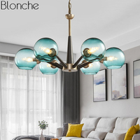American Country Glass Pendant Lights Magic Bean Hanging Lamp Led Hanglamp Loft Industrial Lustre Dining Room Kitchen Fixtures