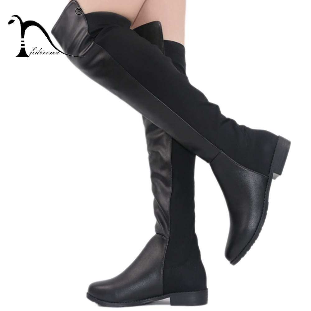 FEDIROMA 2017 New Arrive Over the Knee Boots Woman Flat Heel Winter Shoes Boats Round Toe Warm Shoes for Women arteast am 501 фигурка парусник латунь янтарь