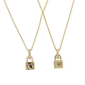 fa5efe43ad89 Personalizada collar de Color oro candado colgante collar de marca Rolo  collar de cadena de Cable collar ras du cou collier femme mujeres