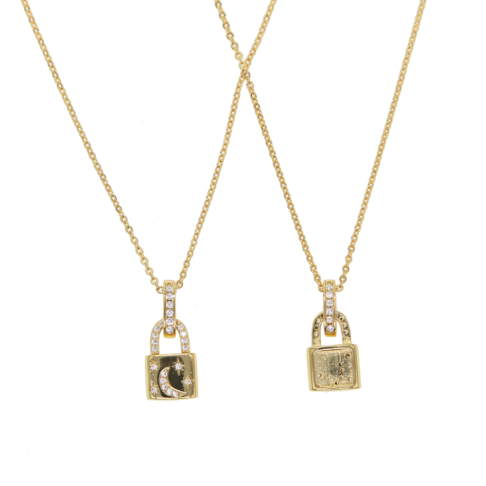 Spersonalizowane naszyjnik złoty kolor kłódka wisiorek naszyjnik marka Rolo kabel łańcuch naszyjnik kołnierz ras du cou collier femme kobiety
