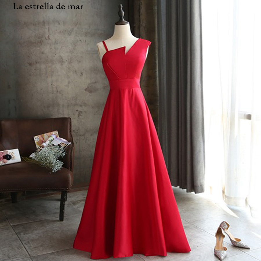 Vestido De Festa Para Casamento Satin Sexy V Neck ALina Red Bridesmaid Dress Long Abito Damigella Cheap Wedding Party Dress