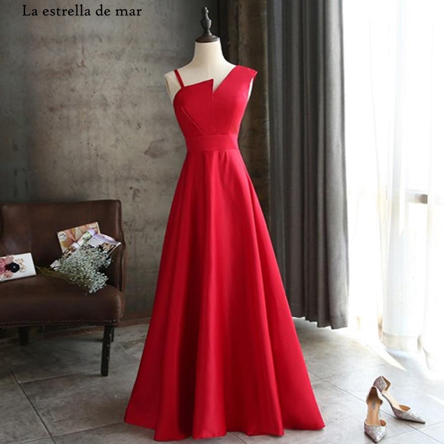 Vestido De Festa Para Casamento Satin Sexy V Neck ALina Red Bridesmaid Dress Long Abito Damigella Cheap Wedding Party Dress