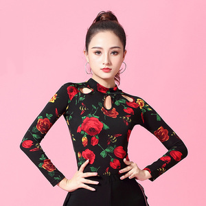 Image 3 - Flower Print Long sleeve Turtleneck cutout Latin dance clothes top for women/female,Ballroom Costume performance wear YT0207