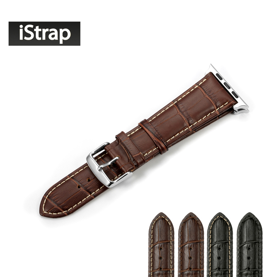 Istrap Alligator Grain Genuine Leather Strap Smart Watch Band Replacement  For Iwatch For Apple Watch Strap 38mm 42mm