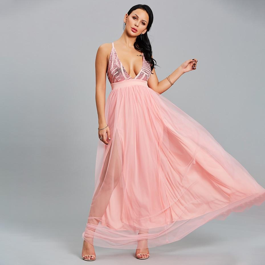 Maxi Backless Dress Sexy Womens Evening Party Dresses Deep