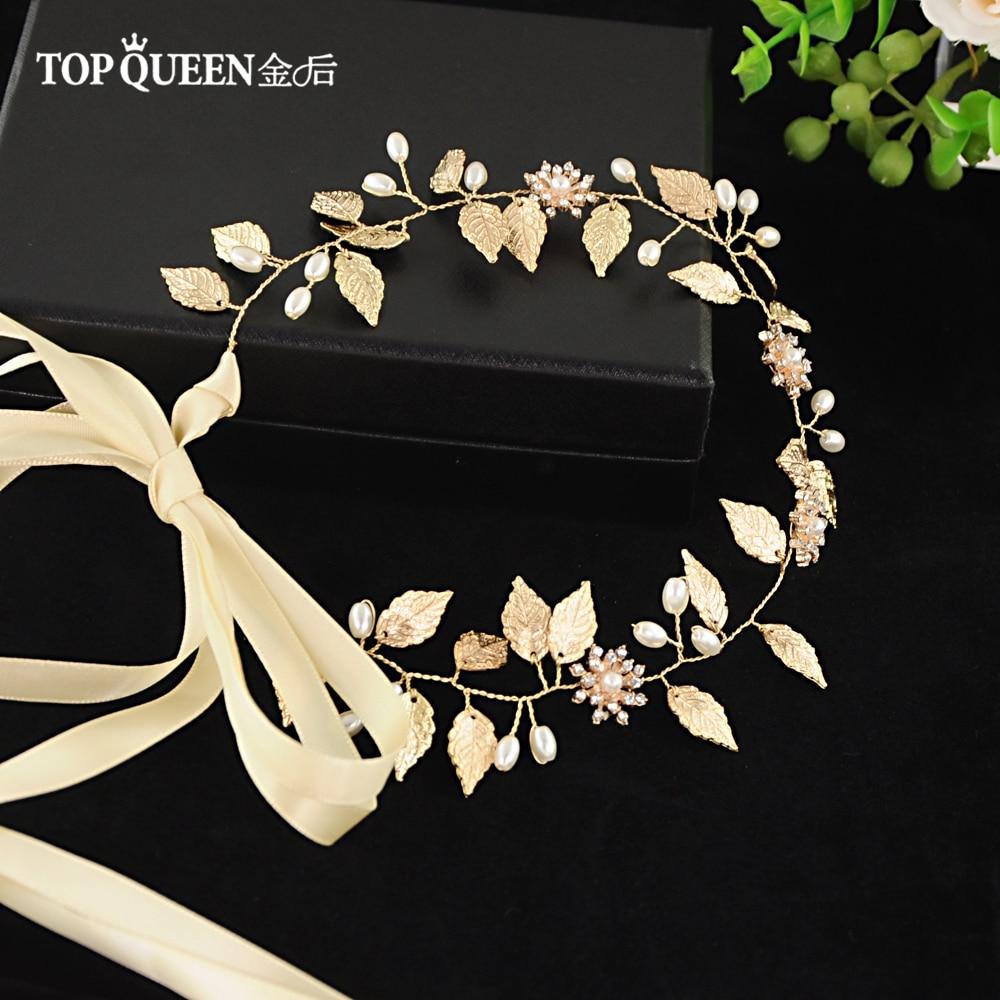 TOPQUEEN HP110 Wedding Tiara Wedding Headwear Golden Wedding Hairband Wedding Hair Accessories Bridal Headwear Bridal Headband