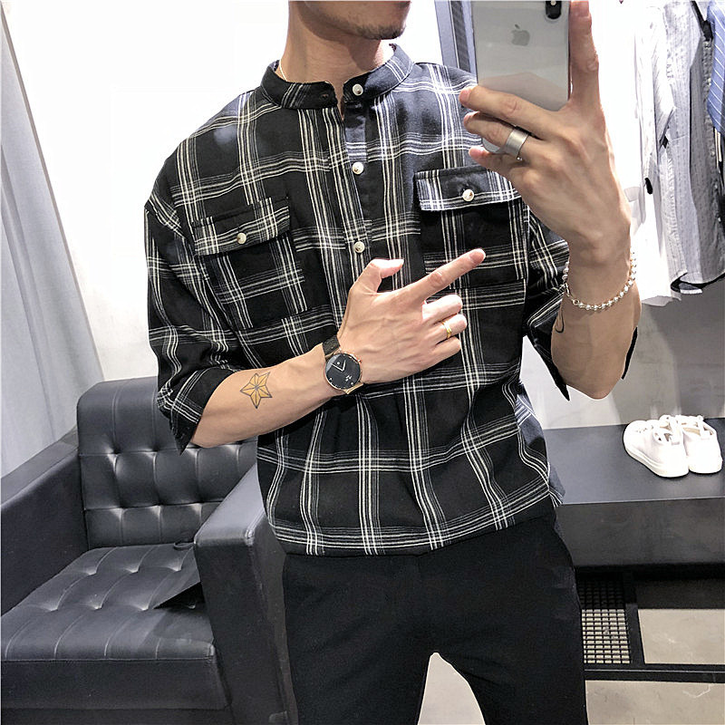 Plaid Check Stand Collar Shirt Cotton Linen Summer Half Sleeve Loose Shirt Beach Ropa Para Hombre Mandarin Collar Shirt For Men ...