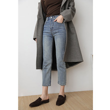 Spring 2019 New Korean Version of Mid-waist Jeans Retro-made Old Straight Nine-minute Pants Ankle-Length Pants Women Jeans Pants 2017 new spring summer new jeans women ankle length straight mid waist jeans lady ripped loose fashion trousers fat mm 26 32