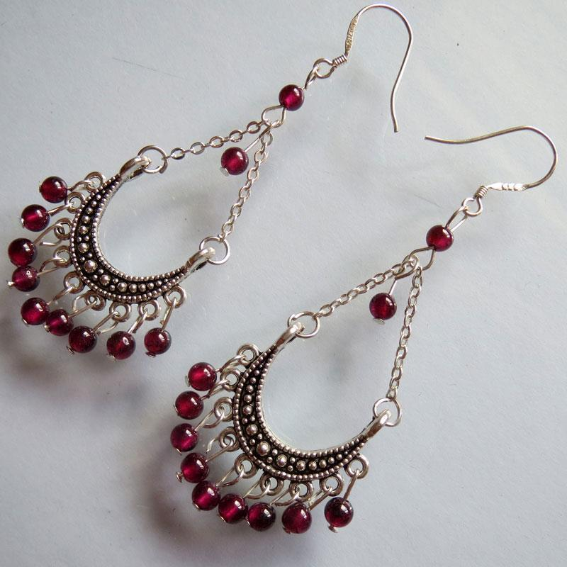 Wholesale Vintage Tibetan Style Tibetan Silver Garnet Beads Pendant dangle earrings 2 pcs Free shipping