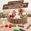 Juguete de madera simulación Mini Magneti pastel de juguete tamaño 11*3 cm para el cumpleaños del niño presente Montessori cocina niños comida juguete