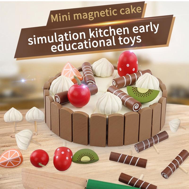 나무 장난감 시뮬레이션 미니 자기 케이크 장난감 크기 11 * 3 cm 어린이 생일 선물 몬테소리 주방 어린이 음식 장난감