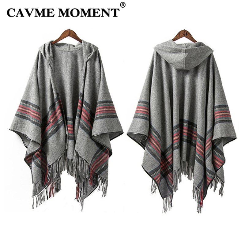 CAVME Hooded Wool Poncho with Tassels for Women Ladies Gray Black Shawls Winter Warm 100 Woolen